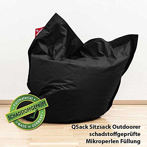 QSack Outdoor Sitzsack XXL, Toxproof Mikroperlen, schadstoffgeprüft, 140x180 cm (Schwarz)