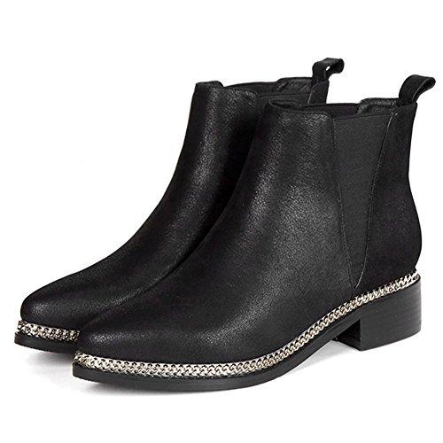 Donna breve stivali metallo catena piatta in pelle casual confortevole elastico alla caviglia scarpe, GREEN-34 BLACK-38