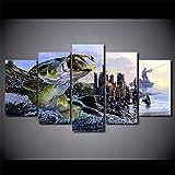 Tkuri Toile Photos HD Prints Mur Art Décor À La Maison pour Salon 5 Pièces Largemouth Basse Pêche Peintures Affiches De Poisson sans Cadre - T3 Cadre