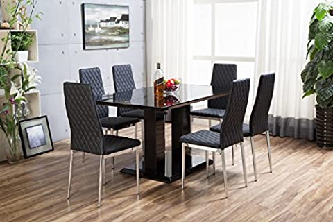 New Imperia Black High Gloss Dining Table Set And 6 Chrome Faux Leather Hatched Dining Chairs (6 Chairs)