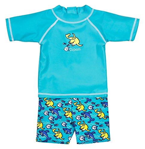 Landora® Baby- / Kleinkinder-Badebekleidung 2er Set mit UV-Schutz 50+ und Oeko-Tex 100 Zertifizierung in türkis; Größe 98/104 -