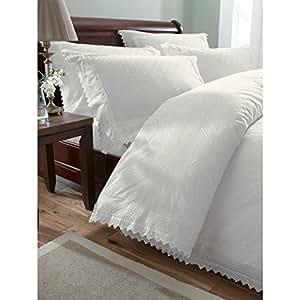 bedmaker housse de couette blanc broderie anglaise 200. Black Bedroom Furniture Sets. Home Design Ideas