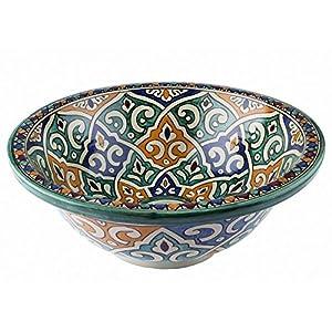 Lavabo de baño marroquí de cerámica de Fes/Tanger multicolor, pintado a mano – Circular, pintado desde dentro hacia fuera – diámetro 40 cm Altura: 16 cm