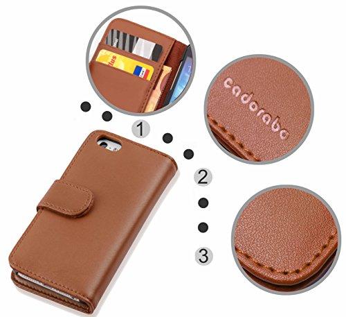 Cadorabo - Etui Housse pour Apple iPhone 5C - Coque Case Cover Bumper Portefeuille (avec fentes pour cartes) en NOIR DE JAIS NOISETTE MARRON
