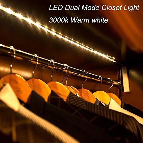 Amagle Flexible 3.28ft LED Streifen Licht, Motion Sensor Aktiviert Streifen Beleuchtung 3000K für Kinderbett Wandschrank , Flure, Schublade, Treppen (4 AAA Batterien Betrieben,ohne Batterie) (1 Stück, warmweiß) (Motion-sensing-licht-schalter)