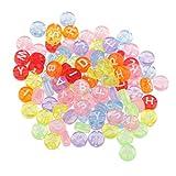 Fenteer 100 Stück Sortierte Farbe Runden Alphabet Buchstaben Mini Perlen Würfelperlen Acrylperlen Zum Basteln Armband Halskette Kinderschmuck