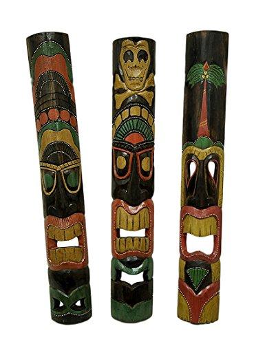 Juego-de-3-tallada-a-mano-isla-estilo-polinesias-Tiki-de-mscaras-39-en