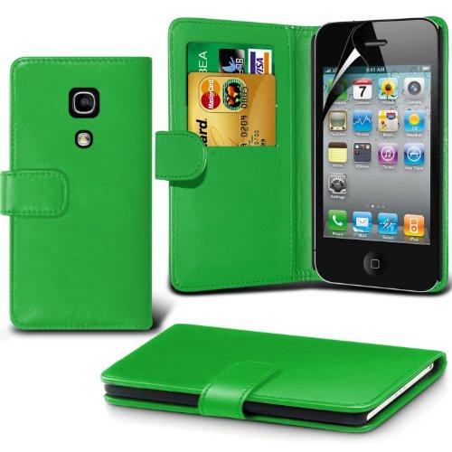 élégant PU Portefeuille en cuir couverture de peau de cas de secousse Avec écran LCD Protecteur Pour Apple iPhone 4 By Spyrox Vert