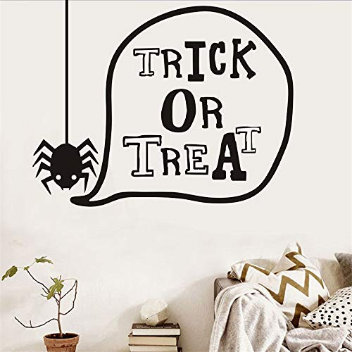 73x58cm Trick or Treat Lovely Spider Halloween Wall Stickers For Kids Room Wall Decor Decorated Art Decal Halloween Home Decorations