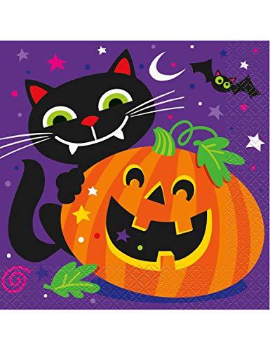 KULTFAKTOR GmbH Halloween-Servietten Katzen und Kürbis Papierservietten 16 Stück lila-orange-schwarz 16,5x16,5cm Einheitsgröße