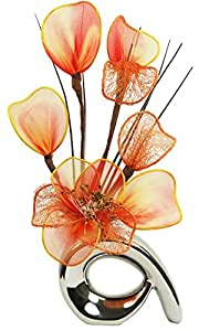 Flourish 792 862 32 centimetri Mini modello Vaso e bouquet di fiori artificiali, scuro arancione / arancio / marrone
