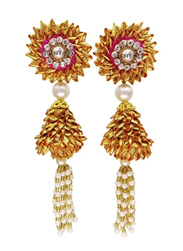 BLENT#63 Maroon Gota Patti Flower Jewellery Jhumki Earrings for Women/Kids/Girls/Bride/Bridal/Wedding/Haldi/Mehandi (Handmade Light...