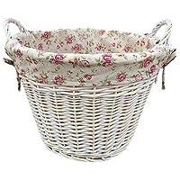 Bianco-Cesto per biancheria, da giardino, con fodera rosa
