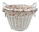 Attraktiver Wäschekorb in Weiß Mit Rosen Motiv