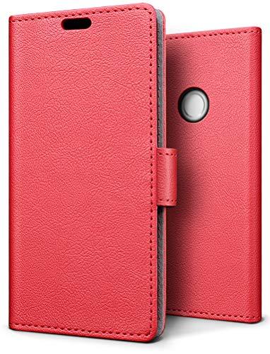 SLEO Hülle für BQ Aquaris C, PU Leder Case Cover Tasche Schutzhülle Flip Case Wallet im Bookstyle für BQ Aquaris C Hülle - Rot