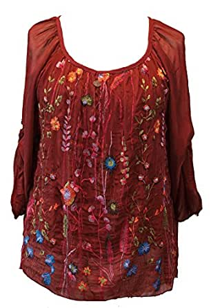 b6955642c6af Italy Seidentunika Tunika mit Stickerei Folklore Seide Bluse Shirt bordeaux  S-M-L