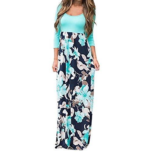 Yanhoo Damen Gestreift Lange Boho Kleid Lady Beach Sommer Sundrss Maxikleid Strand häkeln Vintage Floral Bodycon Sleeveless beiläufiges Abend Partei Abschlussball Schwingen (M, Blau (3/4 Ärmel)) -