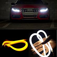 EX1 2 Piezas Auto Coche LED Flexible Luz Delantera DRL Luz Diurna Luz de Señal de Giro Tubo 30cm (Blanco / ámbar)
