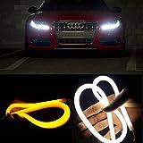 EX1 2 Stücke Auto LED Flexibel Vorderlicht DRL Tageslicht Tagfahrlicht Lampe Blinker Licht Signallicht Tube 30cm (Weiß / Bernstein)