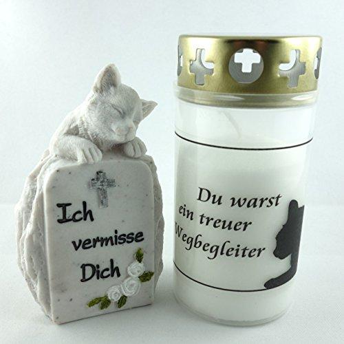 Kleiner Grabschmuck Katzengrab Gedenkstein mit Grabkerze 2er Set.