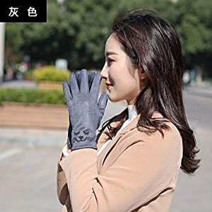 Q_STZP Gloves glove mitten Gloves ladies autumn and winter cute Korean students warm and velvet thickening bike points five fingers windproof touch screen gloves