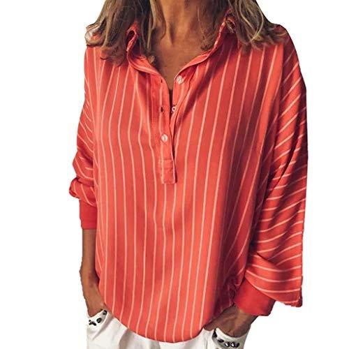 Floweworld Damen Langarmshirts Frau Rundhals Lose BeiläUfige Gestreifte Bluse Fashion Solid Button Revers Top - Reverse-plissee Hose