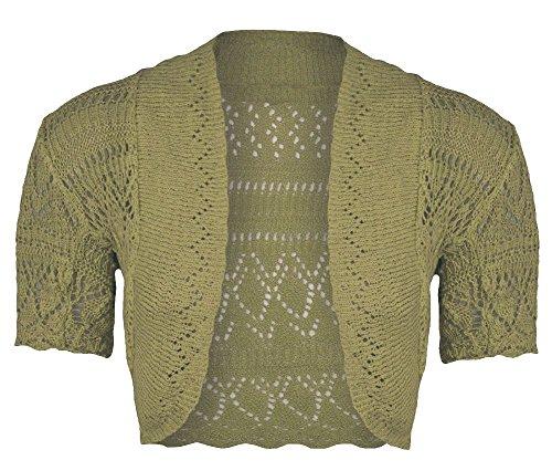 New Womens Ladies Crochet Knitted Bolero Shrug Short Cap Sleeve Crop CardiganTop (Sleeve Cap Crop)