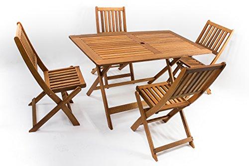 AVANTI TRENDSTORE - Malino - Set da giardino con 1 Tavolo pieghevole e 4 sedie pieghevoli, in legno Teak, ideale per il vostro giardino! Dimensioni tavolo: LAP 135x72,5x75 cm, sedie: LAP 46x89x60,5 cm