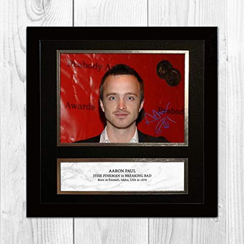 Aaron Paul - Jessie Pinkman - Breaking Bad 1 NDW Signed Reproduction Autographed Wall Art - 10 inch x 10 inch Print (Black Frame)