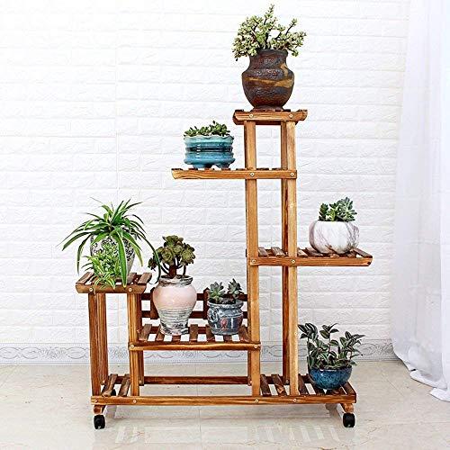 Stts fiore stand-flower rack in legno massello a pavimento multistrato anticorrosione ruota a nastro piante verdi fiore mensola soggiorno balcone rack in vaso,modelli di puleggia,colore grigliato all