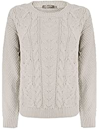 91e3419ab764e9 HAAS TRADING Womens Cable Knitted Long Sleeves Chunky Crew Neck Jumper  Ladies Cardigan Baggy Sweater