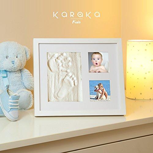 Marco huella de mano y pie de bebé para regalo de recién nacidos y bautizo. Kit marco para huellas de bebé. Cuadro para huella de bebé ideal para regalo de bautizo y recién nacidos.