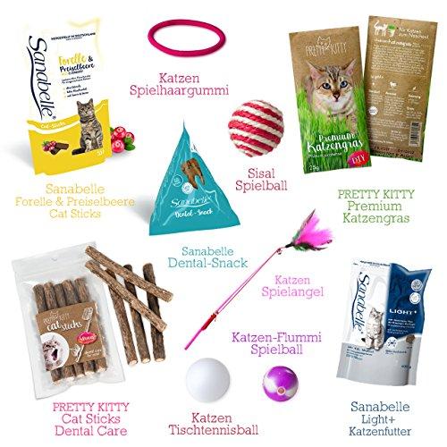 Kitty-Boxx (13 Teile) Geschenk für Katzenliebhaber – Geschenkbox mit Katzenspielzeug, Katzenfutter, Pflegeprodukten, praktischen Tipps & Utensilien als Geschenk für Katzenbesitzer & Katzen