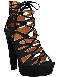 Fashion Thirsty Nuevo Plataforma de Tacón Alto Señoras Mujeres Sandalias Estilo Gladiador Cordones Zapatos Al Tobillo Números