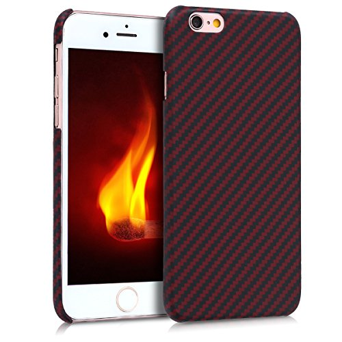 kalibri-Hlle-fr-Apple-iPhone-66S-Handy-Schutzhlle-Backcover-Aramid-Cover-Rot-Matt-Schwarz