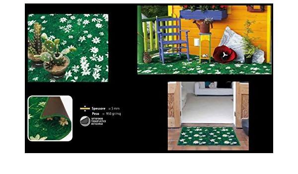 CASA TESSILE Prato Fiorito Tappeto Cucina Largo 50 cm 80 cm. Verde