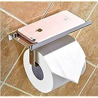Adhesivo de papel higiénico Portarrollos con soporte de teléfono estante de aluminio para el baño