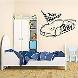 Waofe Vinyl Wand Childrenl Garage Car Racing Racer Boy Zimmer Aufkleber Removable Schlafzimmer Wohnzimmer Tapete Poster Dekor 57 * 76 Cm