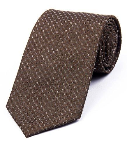 DonDon Herren Krawatte 8 cm klassische handgefertigte Business Krawatte Braun für Büro oder festliche Veranstaltungen