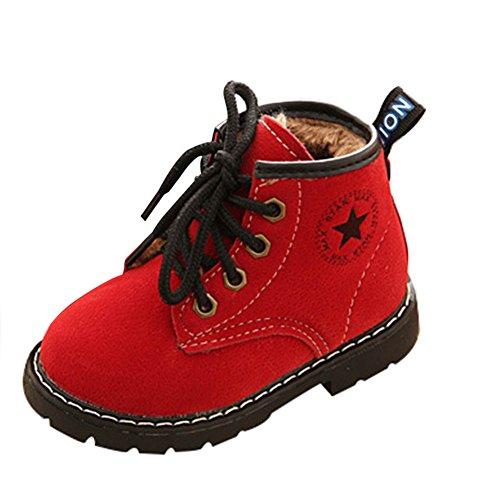 Kleinkind Schuhe Winter Martin Stiefel-Taiycyxgan Baby Jungen Schneestiefel Warm Winterschuhe PU-Leder Boot Rot 22 (Kleinkind-jungen-schnee-stiefel)
