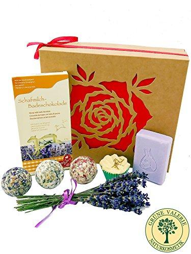 Luxus-geschenk-set Duft-sets (Valentinstag! Badebomben aus Schafsmilch, Schafsmilchseife, Zirbe, Badeschokolade (Lavendel) Deluxe Geschenkset in hochwertiger Geschenkbox / Geschenk-idee für die Frau / von Grüne Valerie ® Premium Manufaktur)