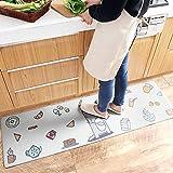 AZUO Haushalts Leder Wasserdichte Bodenmatte Fußpolster Kreative Haushalts-Cartoonstrip-Küche Nicht-Slip Oil Proof Matte,B,S