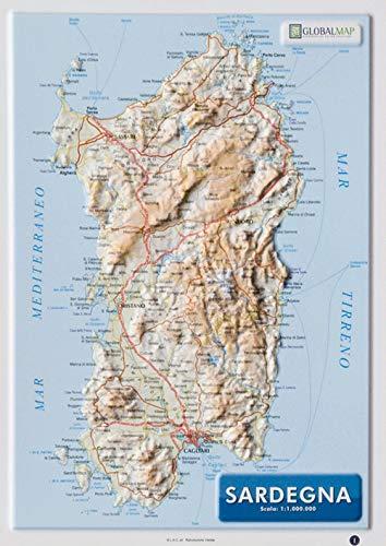Sardegna 1:1.000.000 (carta in rilievo da banco con cornice cm 31,2x22,55)