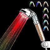 Couradric LED Duschkopf,Regendusche Handbrause 7 Farbwechsel Licht Hochdruck Wassersparen Spa Duschkopf Doppel Filtration für Badezimmer