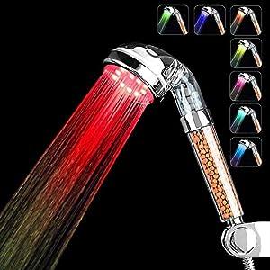 Couradric Alcachofa Ducha LED 7 Colores Luz Cambia,Alta Presión Ahorro de Agua Spa Alcachofa Ducha Ionica Doble Filtro…
