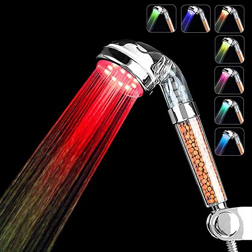 Couradric Alcachofa Ducha LED 7 Colores Luz Cambia,Alta Presión Ahorro de Agua Spa Alcachofa Ducha Ionica Doble Filtro para Baños