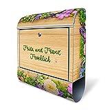 BANJADO Design Briefkasten mit Zeitungsfach, 2 Schlüssel, A4 Einwurf, silber pulverbeschichtet, mit Motiv WT Bouquet