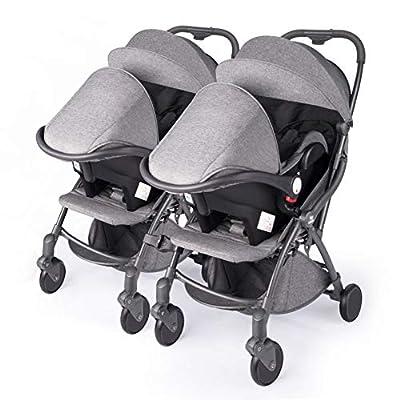 Cochecito doble en tándem desde el nacimiento, gemelos y cochecitos en tándem, el cochecito doble con amortiguador se puede aplanar Sistema de viaje Sentarse y reclinarse
