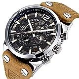 Herren Militär Chronograph Quarz Armbanduhr für Herren mit Big schwarz Skelett Zifferblatt Wasserdicht Armee Armbanduhr