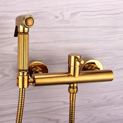 GFEI toute l'eau chaude et l'eau froide buse et cuivre de style européen golden toilettes pistolet titane fixé / chasse d'eau,8.5cm trou distance 1,5 m de tuyau